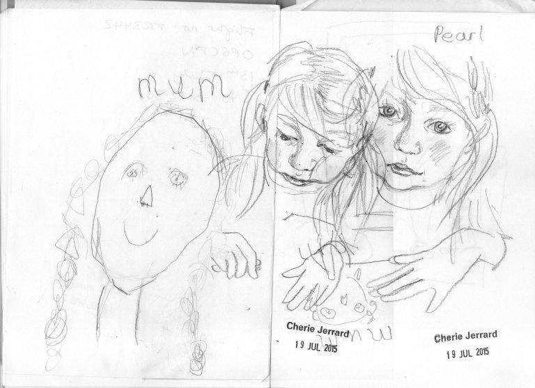 pearl & mum sketch